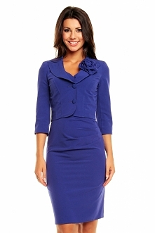 Elegancki komplet sukienka + żakiet, niebieski