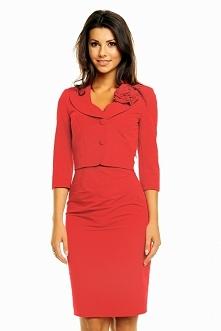 Elegancki komplet sukienka + żakiet, czerwony