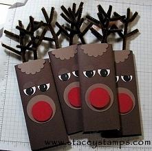 Opakowanie na czekoladę, na prezent. Słodkie renifery :)