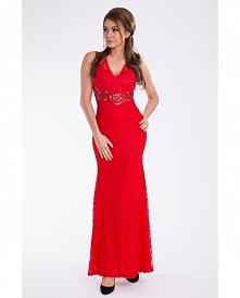 Długa suknia czerwona.  *STUDNIÓWKA *WESELE *SYLWESTER  Wieczorowa sukienka maxi.  * pokryta koronką  * dopasowany krój  * ozdobiona kamieniami pod biustem  * na plecach wycięci...