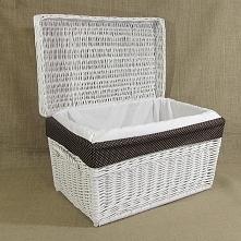 Biały wiklinowy kufer - skrzynia z praktycznym wkładem z materiału to doskona...