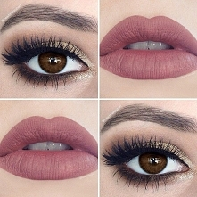 Brązowe cienie pięknie podkreślą piękno Twoich oczu w jesienne dni, matowa szminka idealnie pasuje do tej stylizacji.