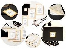Eleganckie biało-czarno-złote zaproszenia ślubne w stylu Art Deco.   Więcej z...