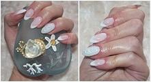French manicure nie musi być nudny ;). Tutaj jeden paznokieć został wysadzony...