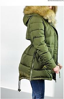 fashionavenue.pl kurtka damska zimowa parka naszywki jenot militarna asymetryczna khaki model #111