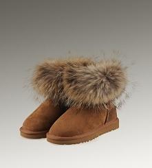 Women UGG Fox Fur Mini Boots Chestnut
