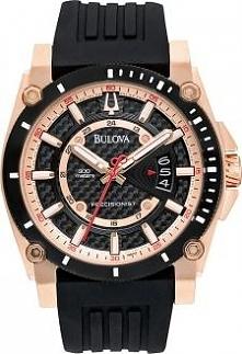 Zegarek męski Bulova 98B152 z charakterem, świetny sportowy design, koperta w kolorze złota, gumowy pasek, wodoszczelność 300 metrów.