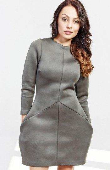 Milu MP16 sukienka khaki Stylowa sukienka, wykonana z piankowej dzianiny, długość mini