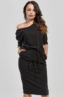 Milu MP17 sukienka czarna Modna sukienka, wykonana z miękkiej bawełny, długoś...