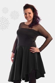 Wieczorowa sukienka plus size z siateczką