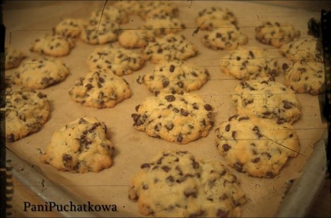 Pieee...Pieee... Pieguskii ! w tych ciasteczkach jestem zakochana po uszy ! :) Robi się je szybko i są lepsze niż sklepowe :p Składniki : - 1 tabliczka mlecznej czekolady ( kup swoją ulubioną )( może być też gorzka ) -3/4 masła :) -1/3 szklanki cukru - 2 nie całe szklanki mąki -1 łyżeczka proszku do pieczenia -1 jajko Kroimy czekoladę na drobną kosteczkę ( proszę nie podjadać , hihih ) Następnie masło ucieramy z cukrem mikserem ,dodajemy jajko i mieszamy.Do tego dosypujemy mąkę i proszek do pieczenia. Mieszamy znów :) Na koniec dodajemy kawałki czekolady i wszystko dokładnie mieszamy. Formujemy małe kuleczki i wykładamy na blachę wyłożoną papierem do pieczenia. Pieczemy w temperaturze 200 stopni około 10 minut do złotego koloru.