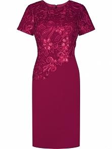 Elegancka sukienka wieczorowa z gipiurą, bordowa