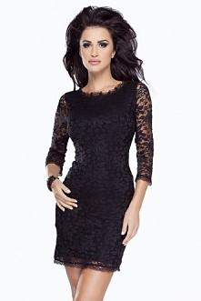 Czarna koronkowa mini sukienka