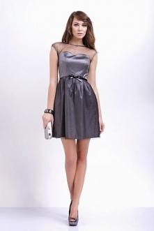 Wizytowa srebrna sukienka z siateczką na ramionach