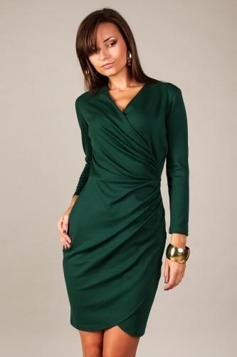 8f7b8dc12 Zielona sukienka wieczorowa z kopertowym dekoltem na Sukienki ...