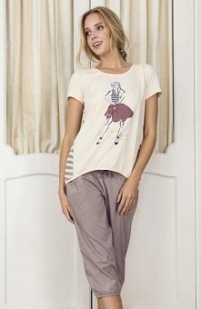 Esotiq Dotty 33535-02X piżama mocca Modny komplet bielizny, koszulka z krótki...