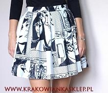 spódnica czarno biały komiks  krakowianka    sklep