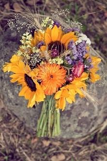 Śliczne wiązanki ślubne ze słoneczników zdjęcia >