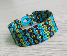 Bracelet ethnic olive & turquoise