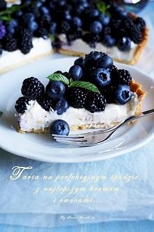 """Tarta """"Berry""""na ciasto kruche: 185g mąki 90g zimnego masła 30g cukru pudru sz..."""