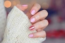 Manicure hybrydowy: Semilac Pink Smile + Pink Gold oraz naklejki wodne w kwiaty :)