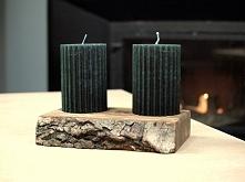 Drewniany świecznik z korą ...