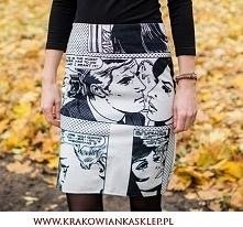 spódnica czarno biały komiks