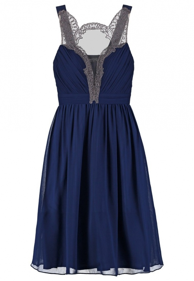 59dbd923881cc7 Wieczorowa sukienka do kolan, z koronką, granatowa na Cudowne ...