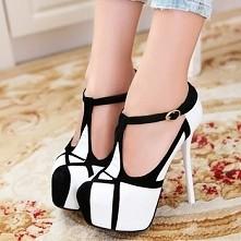 #shoes #black #white #high heels