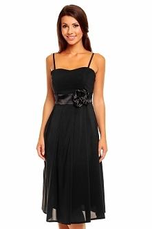 Koktajlowa sukienka z szyfonu z różą, czarna