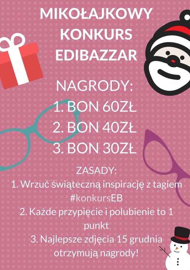Hej, mamy dla Was konkurs! Do wygrania bony do EdiBazzar.pl (z przesyłką gratis!). Wystarczy, że wrzucicie na swoją tablicę coś inspirującego związanego z mikołajkami/świętami/zimą i otagujecie #konkurseb ! 15 grudnia 3 najwyżej ocenione przez użytkowników zdjęcia zgarnia bony (jedna osoba może wygrać jeden bon). Powodzenia!