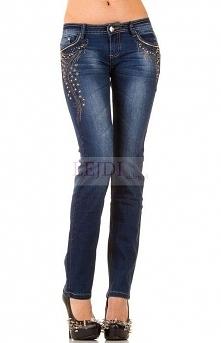 Jeansy zdobione wzorem z cy...