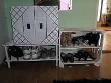 Szafka na buty ze skrzynki i starej rolety DIY
