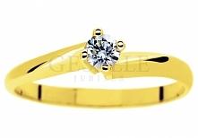 Cieszący się popularnością złoty pierścionek zaręczynowy z brylantem o masie ...