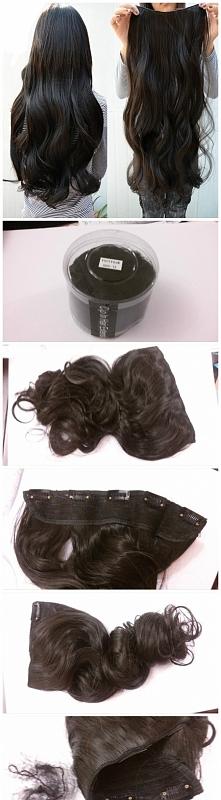 (45.00zł)nowe 120g clip in włosy czarne kręcone fale doczep