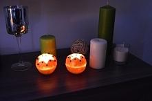 Świeczniki z pomarańczy :) pomysł zaczerpnięty z zszywki, skórka z pomarańczy...