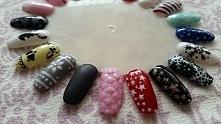 Świąteczno-zimowe wzorki na paznokcie hybrydowe mojego wykonania ;)