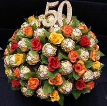 Bukiecik z 50 szt  wybornych pralinek Ferrero Rocher