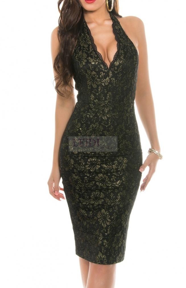 Sukienka na szyję ze złotymi prześwitami, czarno - złota / sukienki wieczorowe