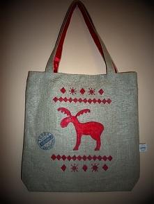 Lniana świąteczna eko torba, fb: Sięgnij Torba Zastępcza