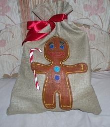 Worek na słodycze, świąteczny, lniany, fb: Sięgnij Torba Zastępcza