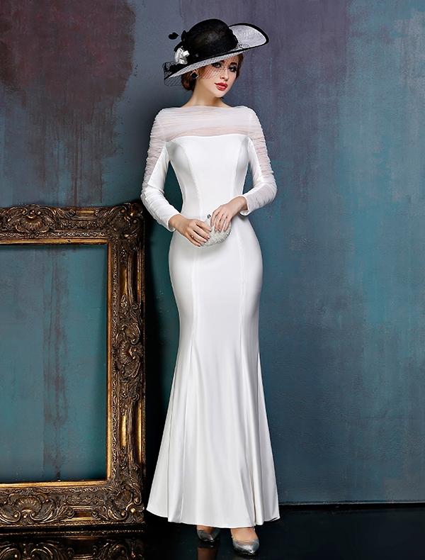 Prosta Biała Sukienki Wieczorowe Satynowa Sukienki Wizytowe Z Żabotem Tiulu PL zł610
