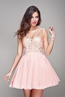 lou.pl  Candy- brzoskwiniowa koronkowa sukienka