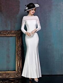 Prosta Biała Sukienki Wieczorowe Satynowa Sukienki Wizytowe Z Żabotem Tiulu P...