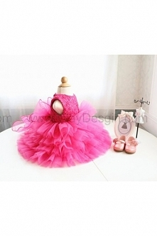 Hot Pink Lace Birthday Dress for Baby/Toddler/Infant, Infant Glitz Pageant Dress, Birthday Dress for Girls