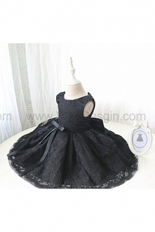Newborn Party Dress with Special Black Lace, Birthday Dress for Girls, Baby Pageant Dress