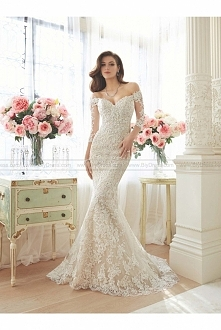 Sophia Tolli Style Y11632 - Riona Off-the-shoulder lace and misty tulle trumpet sweetheart gown