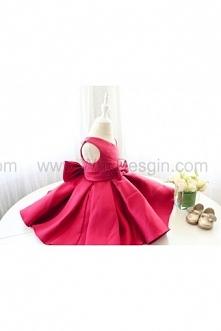 Super Fuchsia Sleeveless V-neck Toddler Glitz Pageant Dress, Baby Birthday Dress, Infant Pageant Dress, Baby Flower Girl Dress