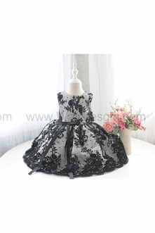 Sleeveless Baby Birthday Dress with Special Black Flower Lace, Baby Pageant Dress, Infant Pageant Dress