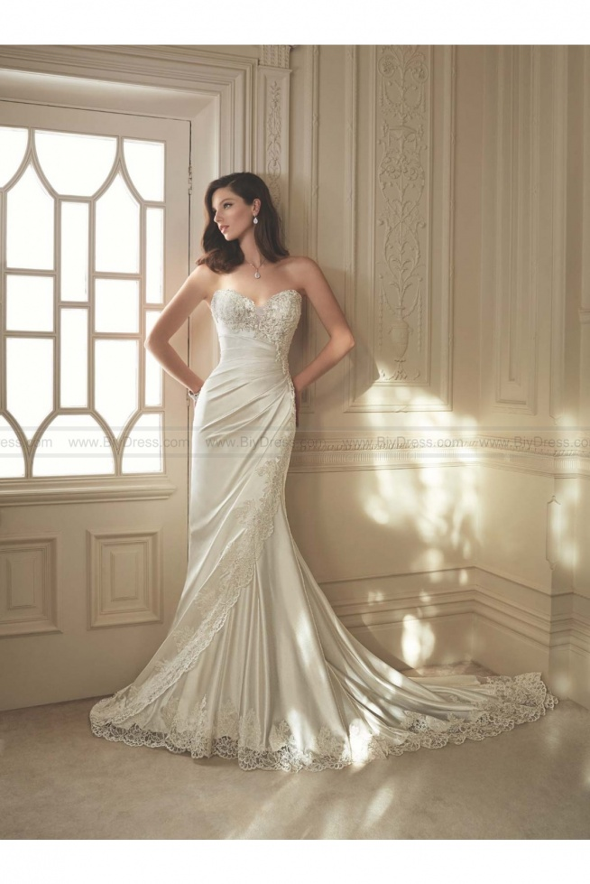 Sophia Tolli Style Y11642 - Morrigan Strapless asymmetrically draped shimmer satin fit and flare sweetheart wedding gown USD$449.00 (56% off) 2016 wedding dress,cheap wedding dresses online,plus size wedding dresses,wedding dress for sale,wedding dress prices